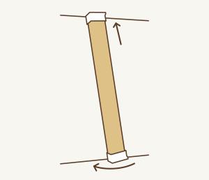 2 上パッド(ばね内蔵)を木材の天井側、下パッドを床側にかぶせて、上パッドを天井に押し付け、床側を隅まで移動。